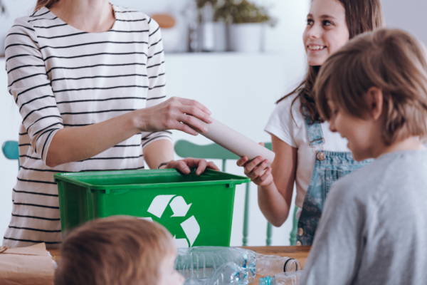 zero waste mother and kids recycling