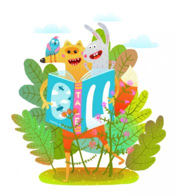 Funny animals in nature reading books. Vector cartoon.