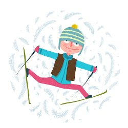 Cool and fun skiing winter sport. Childish style. Vector illustration.